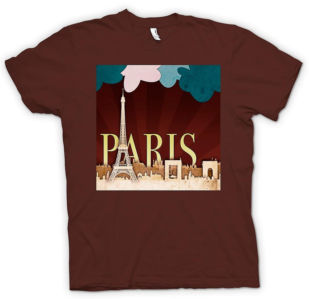 Mens T-shirt - Cool Retro Paris Poster
