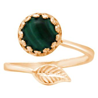 Gemshine ladies ring with green Malachite gemstone - size adjustable. 925 Silver, high-quality gold-plated or rose - quality jewelry made in Spain
