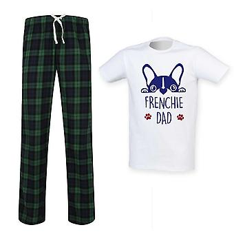 Herre Frenchie far Tartan pyjamas sæt