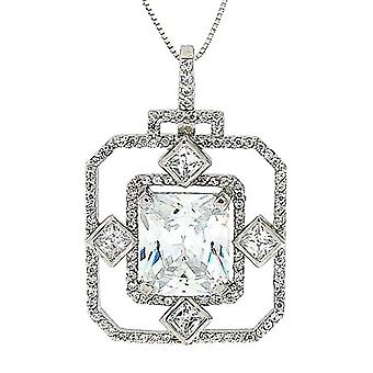 Toc Sterling Silver Fancy Cushion - Princess Cut Crystal Pendant, 18 Inch Chain