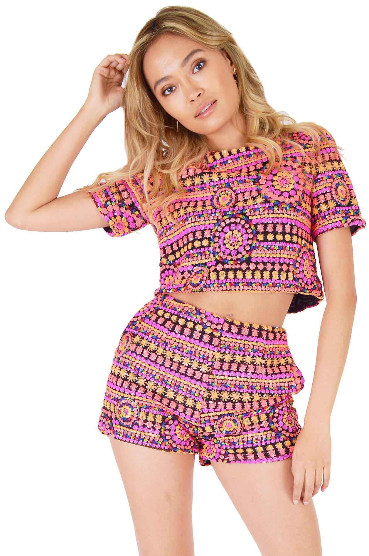 LYDC High Waisted Multi Coloured All Over Sequin Shorts