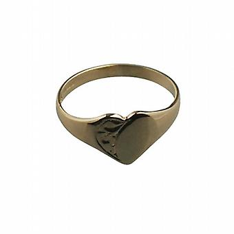 9ct Gold 7x7mm ladies engraved heart shaped Signet Ring Size G