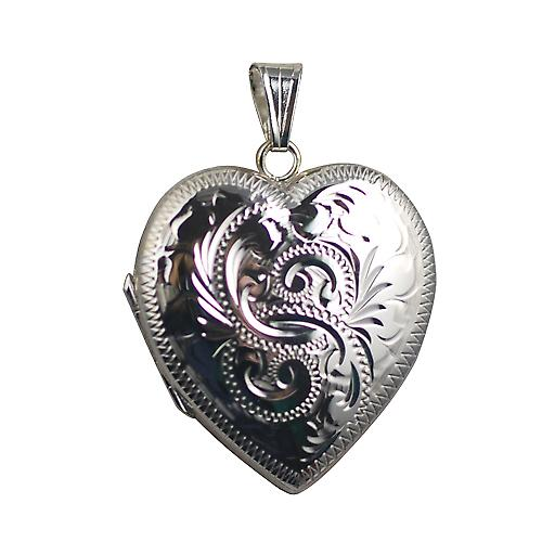 Silver 30x28mm hand engraved heart shaped 4 photo Family Locket