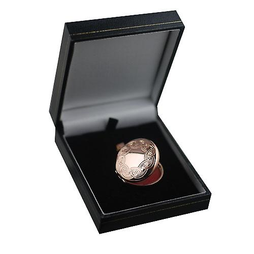 9ct Rose Gold 29mm Celtic engraved round Locket