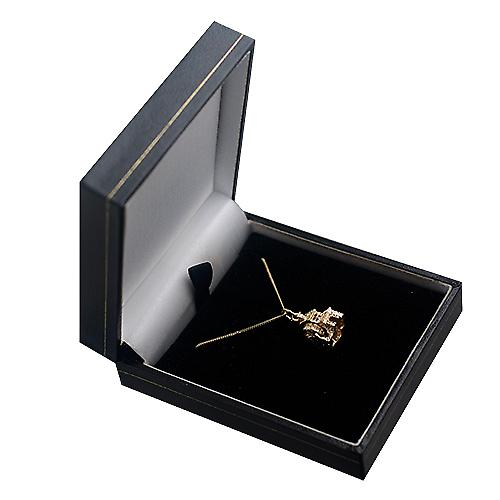 9ct Gold 14x11mm moveable Water mill Pendant with a curb Chain 16 inches Only Suitable for Children