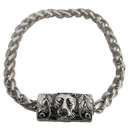 Fashion Personality Vintage Lion Head Engraved Man Bracelet