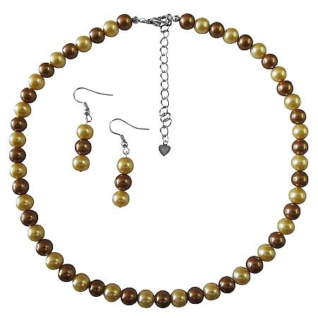 Wedding Latte Dress Jewelry Pearls Latte Pearls and Yellow Pearl Necklace Unbeatable Inexpensive Jewelry