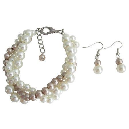 Champagne Ivory Bracelet Earrings Wedding Gift Christmas Gift Inexpensive Jewlery