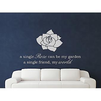 Een enkele Rose Wall Art Sticker - grijs