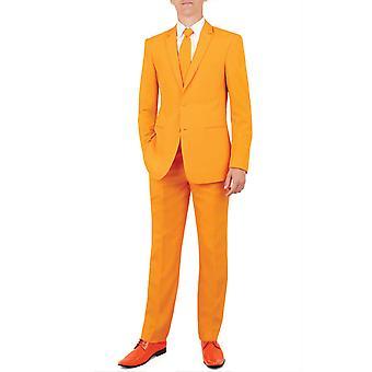 d/Spoke Mens Orange 2 Piece Suit Regular Fit Notch Lapel Novelty Partywear