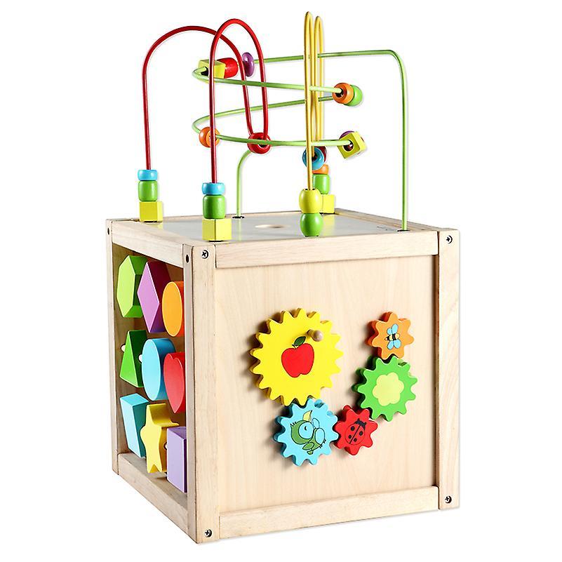 Classique mondiale - Cube multi-activités, bébé perle labyrinthe multi-usages jouets éducatifs pour les enfants