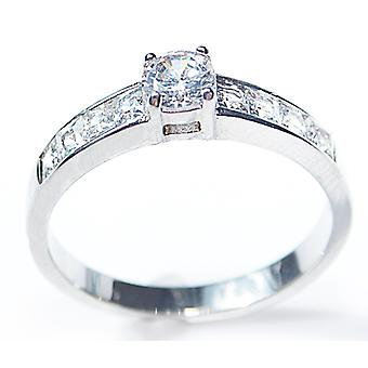 Engraved with Always In My Heart - Ah! Jewellery Princess Cut Ring Round Centre Stone