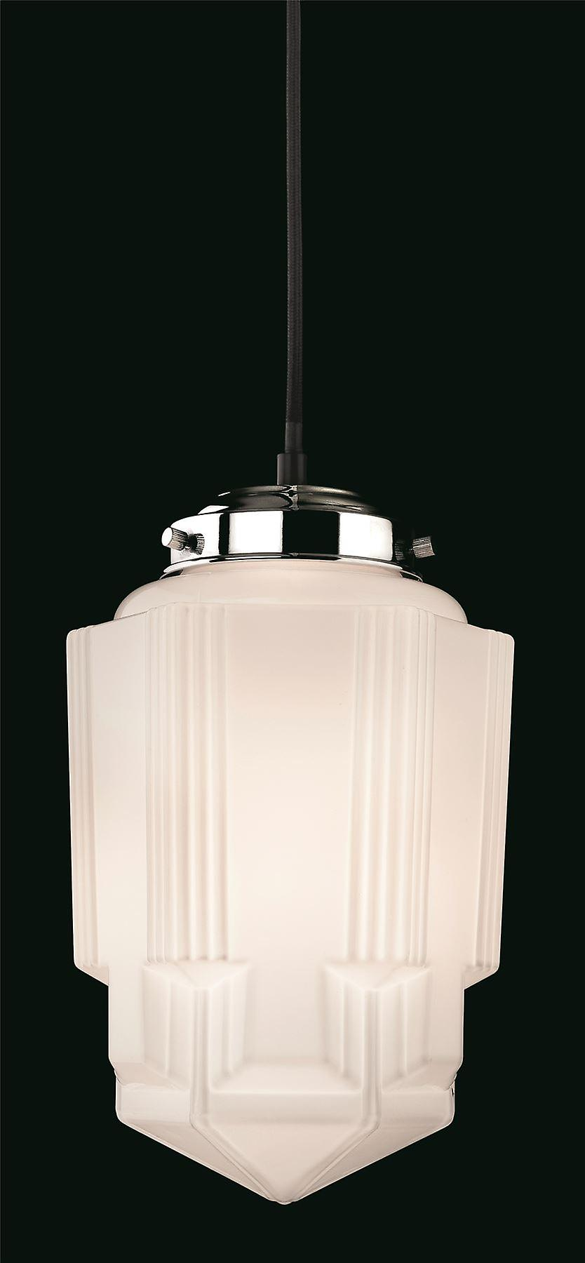 Firstlight - 1 Light Ceiling Pendant Chrome, Opal blanc Glass - 4949CH