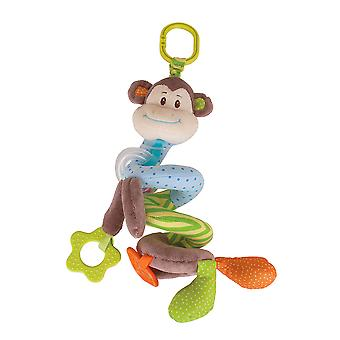 Bigjigs Toys Soft Plush Cheeky Monkey Spiral Cot Rattle Sensory Newborn Baby