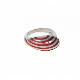 Cavendish Franse Sterling zilver en rode hars Stripe Teardrop Ring
