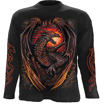 Spiral Direct Gothic DRAGON FURNACE - Longsleeve T-Shirt Black|Dragon|Wings|Flames