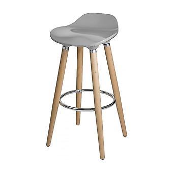 Fusion Living Taupe Plastic Bar Sgabello con gambe in legno di faggio