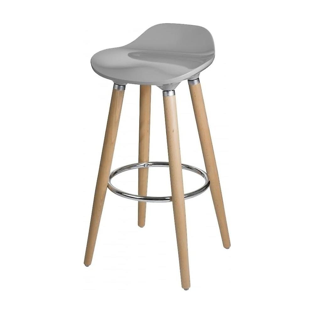 Fusion Living Taupe Plastic Bar Stool With Beech bois Legs