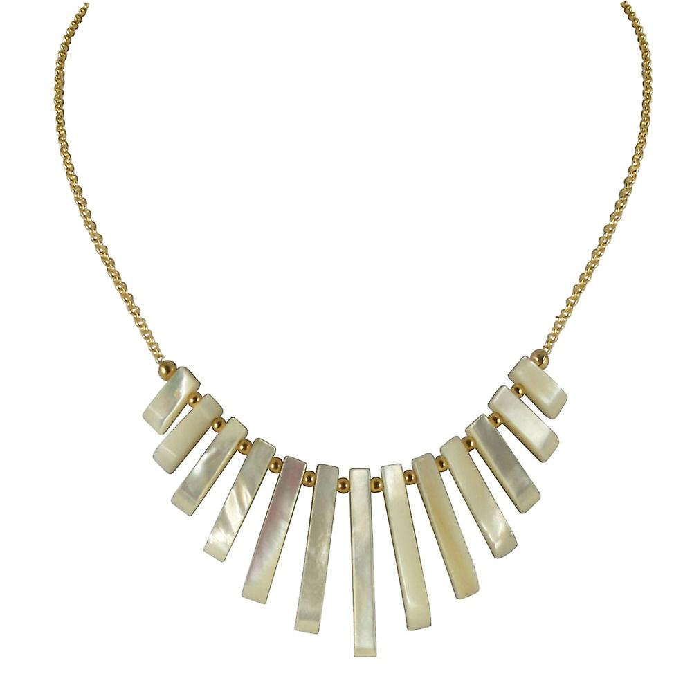 Eternal Collection Idaho Mother Of Pearl Graduated Fan 18ct or Vermeil collier