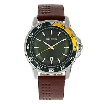 Breed Revolution Leather-Band Watch w/Date - Brown