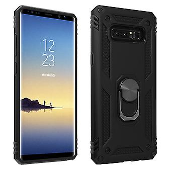 Samsung Galaxy Note 8 Case Bi Material Rigid Soft Magnetic Ring Stand Black