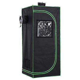 Outsunny Hydroponic Plant Grow Tent Indoor Gardening Indoor Reflective Mylar Lining 98% Dark Room Flowers Seeds Floor Tray Obeservation Window 140 x 60cm