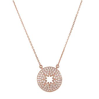 Open Star Disc Pendant Necklace Rose Gold Chain Gemstone Cadeau Charm Anniversaire 925