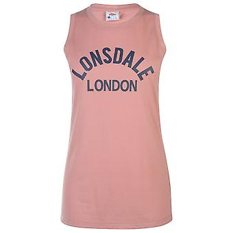 Lonsdale Womens Long Line Vest Tee Top Ladies Manches Round Neck