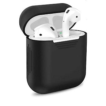 6 pcs/set silicone protective cover & receiving box & anti lost strap & ear cover hooks for apple airpods case black color