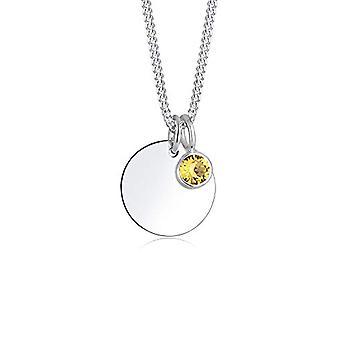 Elli Damen Halskette in Silber 925 mit gelbswarovski Kristall - Runde