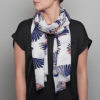 Lola Rose Painted Birds Scarf - Navy Grey & Coral