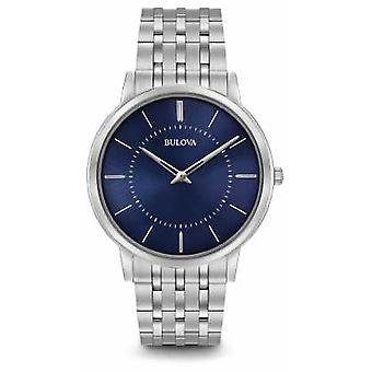 Bulova Mens Ultra Slim Stainless Steel Bracelet Blue Dial 96A188 Watch