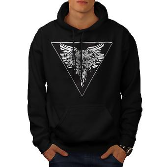 Owl Bird Feather Animal Men Black Hoodie | Wellcoda