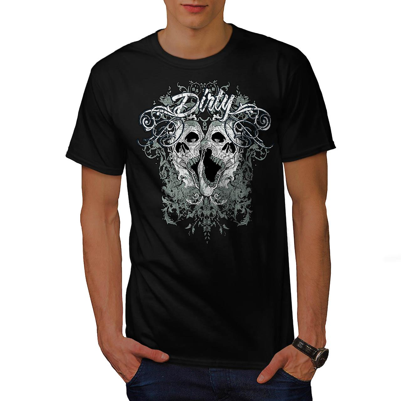 Dirty Evil Grave Yard Dead Skull Men Black T-shirt | Wellcoda