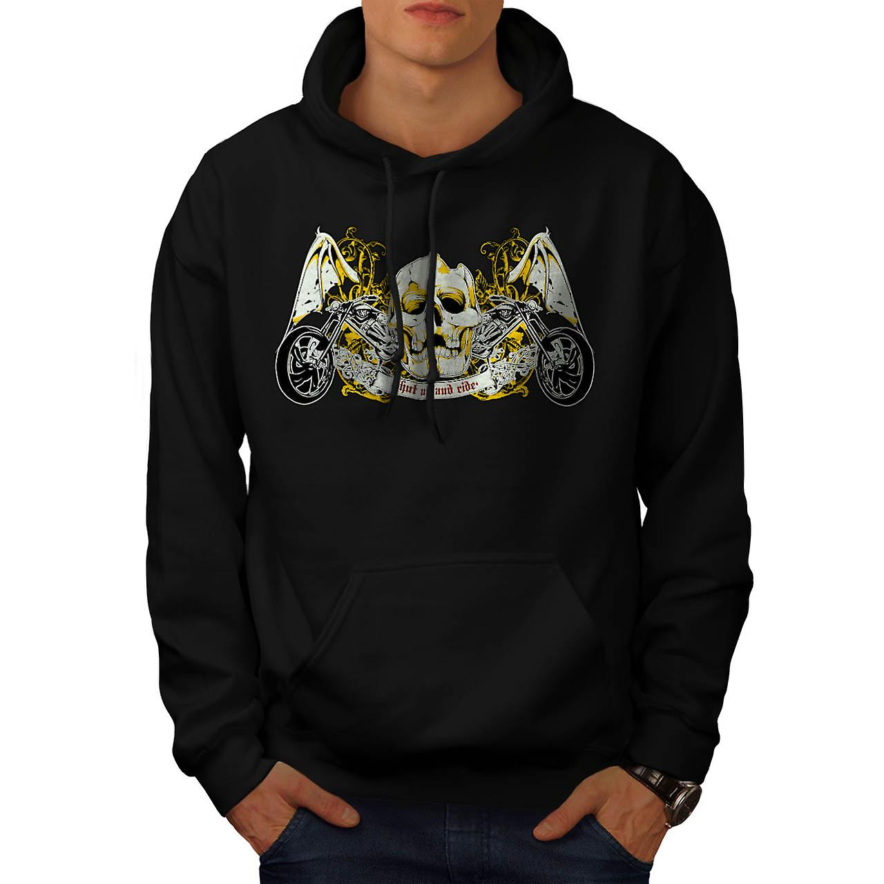 Shut Up Ride Skull Biker Men Black Hoodie | Wellcoda