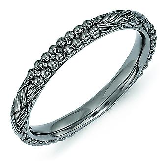 2.5mm Sterling Silver Polished Ruthenium plating Stackable Expressions Ruthenium-plated Patterned Ring - Ring Size: 5 to