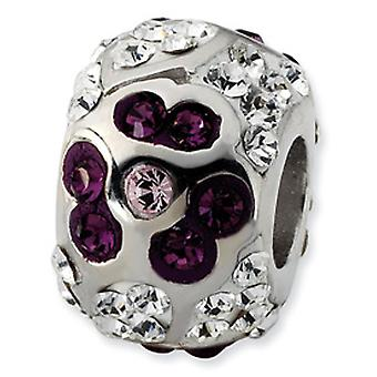 Sterling Silver White and Purple Crystal Flower Bead Charm