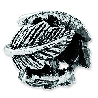 Sterlingsilber antik-Finish Reflexionen Leaf Bead Charm