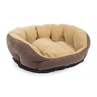 Sleepy Paws Luxurious Soft Bed Brown Suede/cream Fleece 91cm