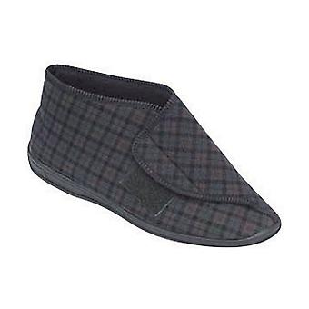 Comfylux Mens Bootee Mallin Touch Velcro Slippers Brown Cheque Footwear Shoes