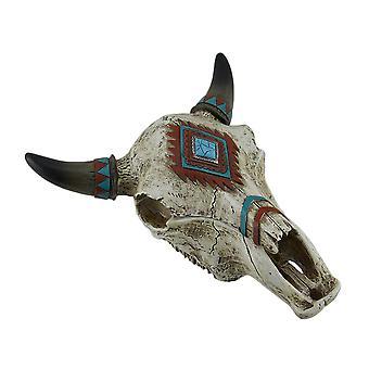 Southwest Style Decorated Steer Skull Trinket Box