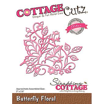 CottageCutz Elites Die -Butterfly Floral, 3