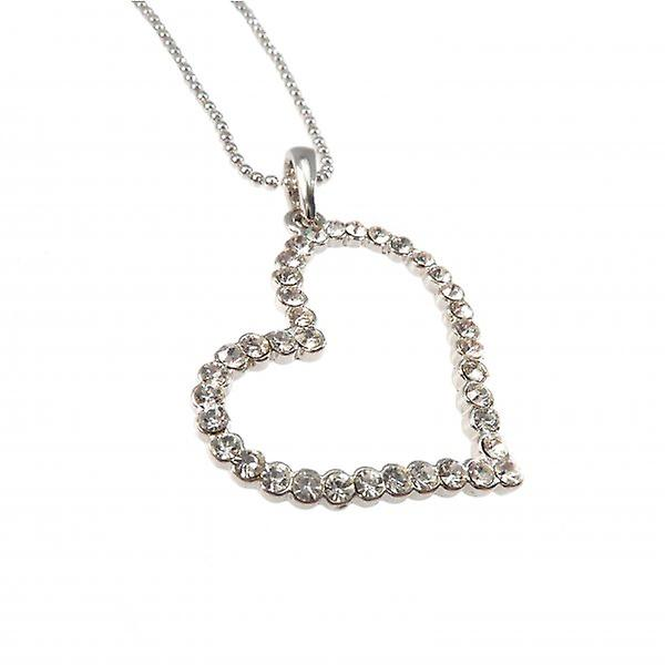 W.A.T Silver Style Open Crystal Heart Pendant