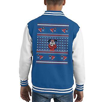Festive Duck Hunt Christmas Knit Pattern Kid's Varsity Jacket