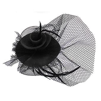 Black Fascinator on Headband/ Clip-in for Weddings, Races and Occasions-5493