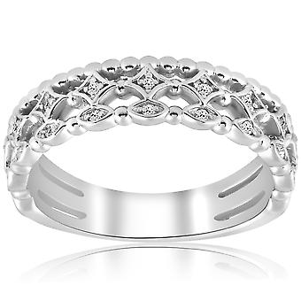1/8ct Vintage Diamond Stackable Wedding Ring 14k White Gold