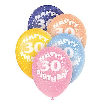 Unique Party 12 Inch 30th Assorted Latex Balloons (Pack Of 5)