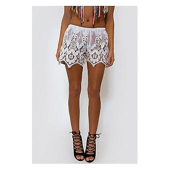 The Fashion Bible Malin White Lace Shorts