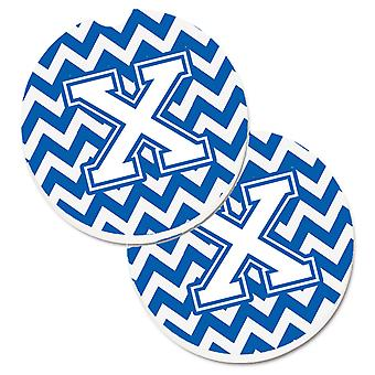 Letter X Chevron Blue and White Set of 2 Cup Holder Car Coasters