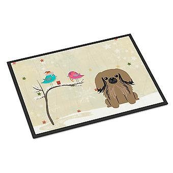 Christmas Presents between Friends Pekingnese Tan Indoor or Outdoor Mat 18x27